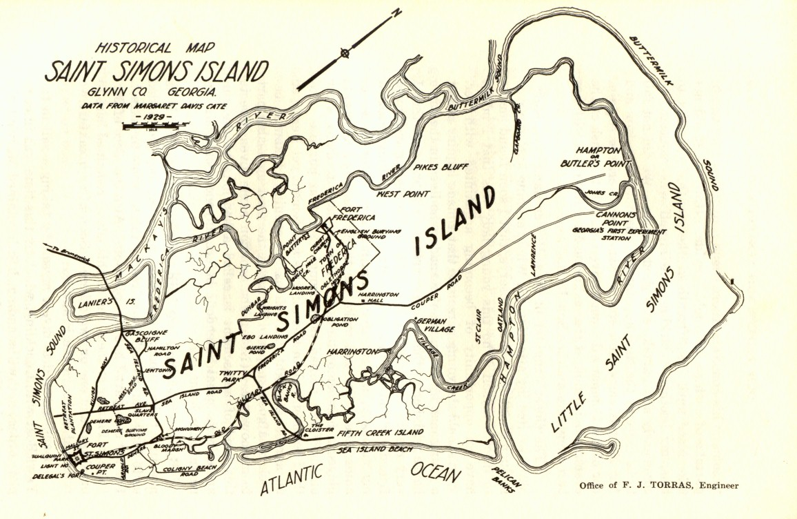 Old Map Of St Simons Island